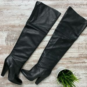 ALDO Black Leather Thigh High Over the Knee Boots
